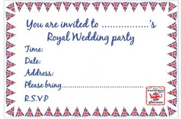 Free Royal Wedding party invitations