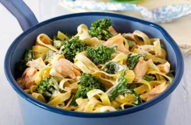 Broccoli and salmon tagliatelle