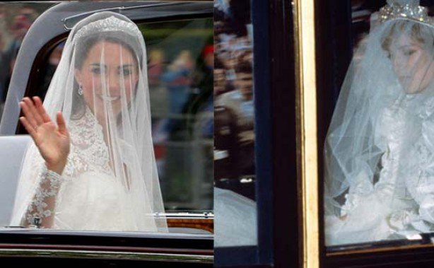 Kate and Diana on the way to their weddings