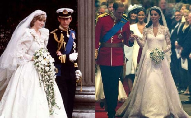 Diana and Charles, Kate and Will on their wedding days