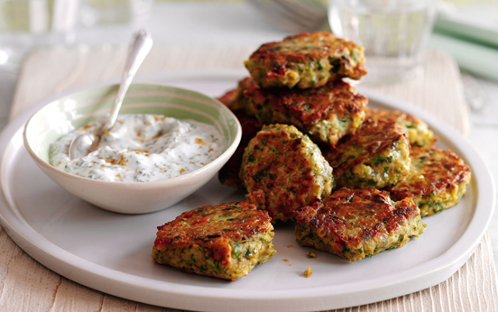 Chickpea and chilli cakes with minted yogurt dip recipe - goodtoknow