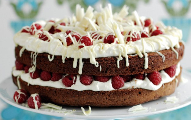 Double chocolate and raspberry cake