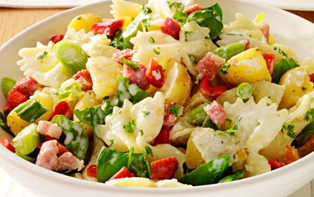 Pasta, potato and bacon salad