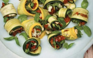 Roasted courgette rolls