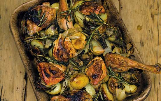 Chicken with artichokes, onions, potatoes and rosemary ...