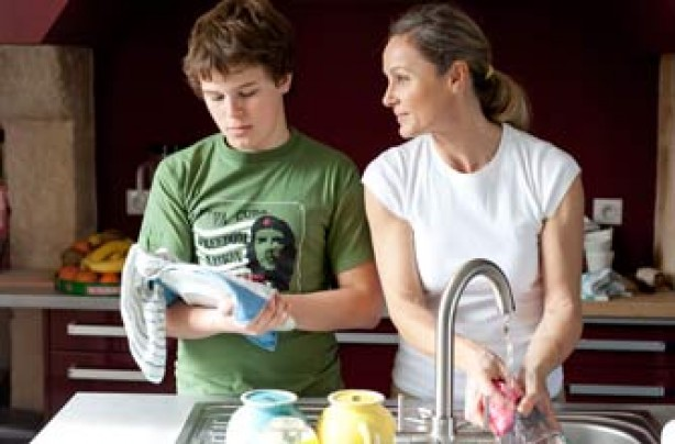 Mum and son doing the washing up