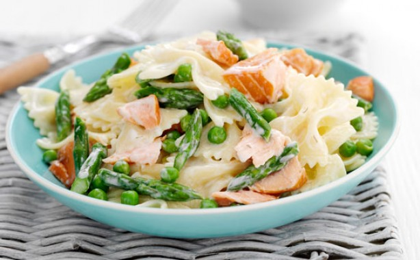 Salmon and pea pasta