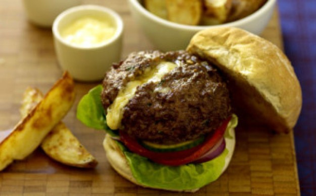 Melting cheesburgers and potato wedges
