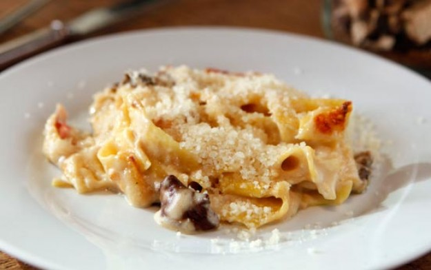 baked pappardelle pasta with pancetta and porcini