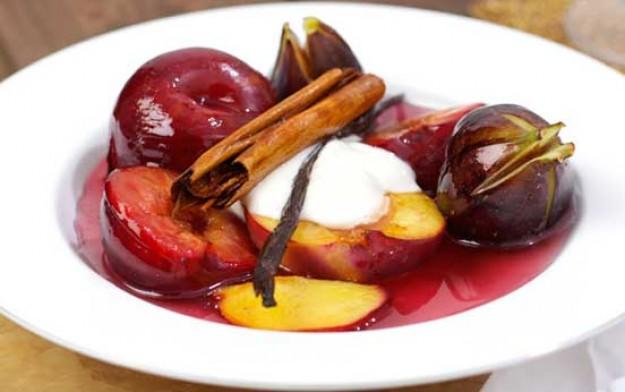 Roasted summer fruits