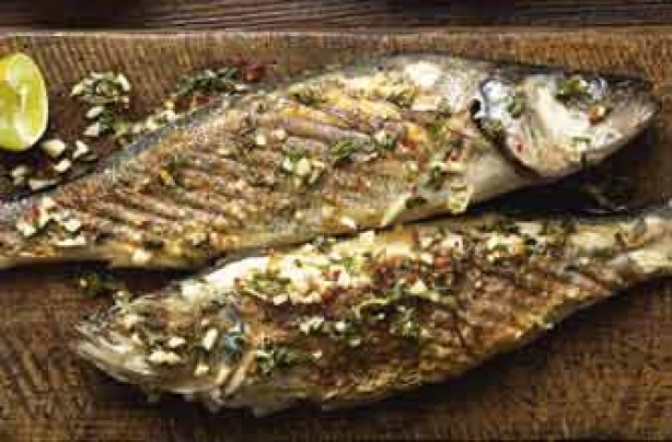 Sea Bass is simply grilled or barbequed and served with a delicious Greek dressing. A perfect dish ti eat with salads or on it's own.