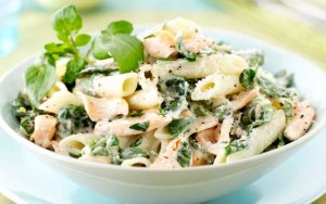 Watercress and salmon pasta
