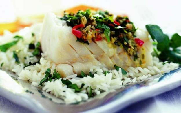 Steamed Oriental cod recipe