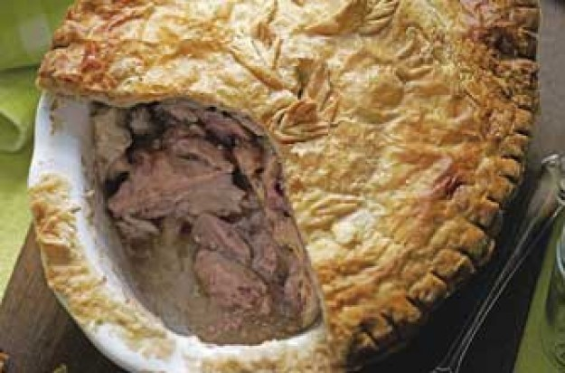 Rabbit and bacon pie