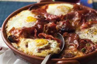 Baked eggs with ham and chorizo