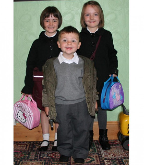 Isabelle, Eleanor and Douggie's first day at school
