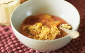 Mary Berry's orange and plum crumble