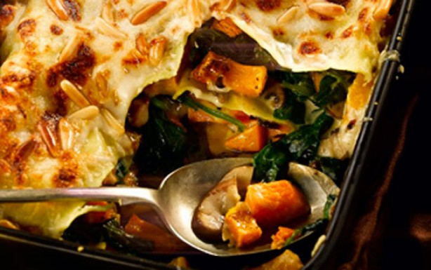Butternut squash, spinach and mushroom lasagne