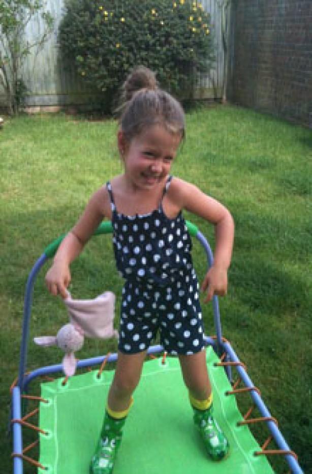 Marley on her trampoline