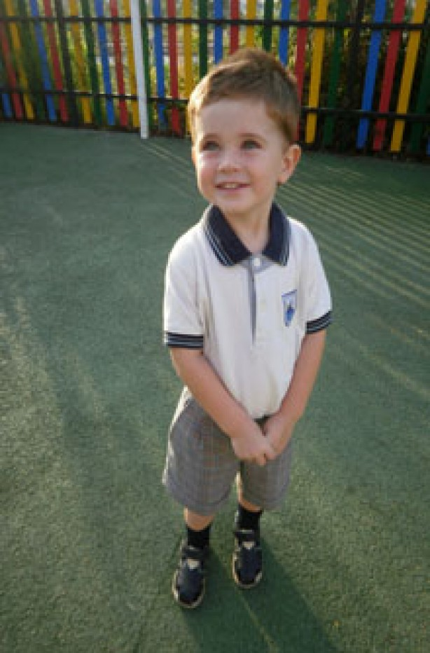 Sam on his first day of school