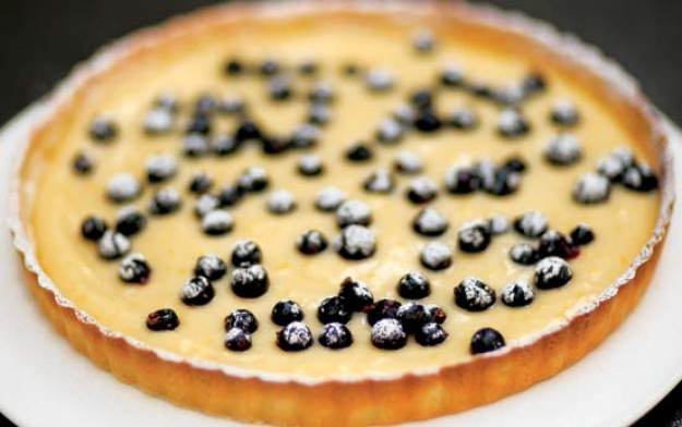 Tana Ramsay's lemon tart with blackcurrants