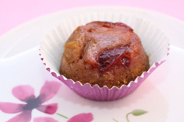Plum upside-down cupcakes