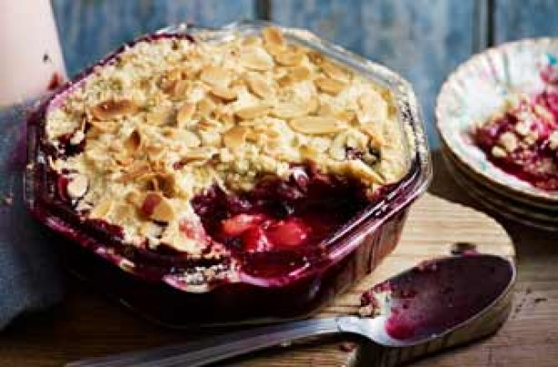 Plum, blueberry and almond crumble