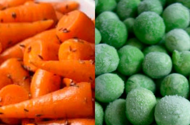 Baby carrots and peas