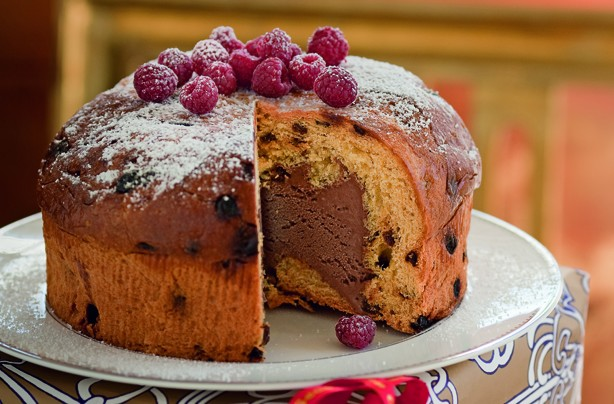 Panettone and dark chocolate bombe
