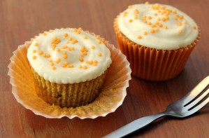 Pumpkin cupcakes with maple icing