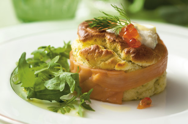Twice-baked smoked salmon souffle with horseradish cream recipe ...