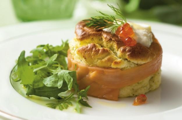Twice-baked smoked salmon souffle with horseradish cream recipe ...