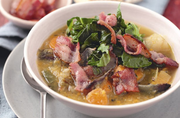 Winter vegetable and bacon soup