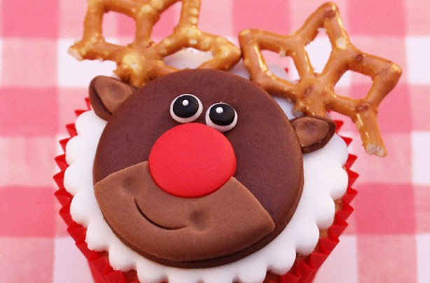 Victoria Threader's Christmas Rudolph cranberry cupcakes