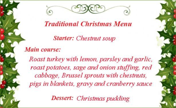 Traditional Christmas menu - NEW