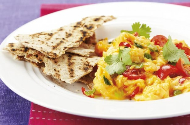 Rise and shine and feel great all day with this super tasty breakfast idea ? spicy scramble eggs with chapattis.