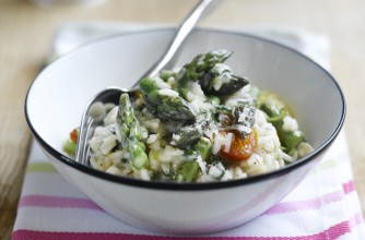 Asparagus, Watercress and Tomato Risotto
