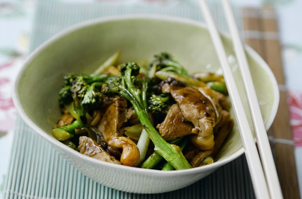 Pork, broccoli and blackbean stir-fry
