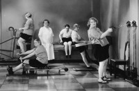 Women working out, diet, retro