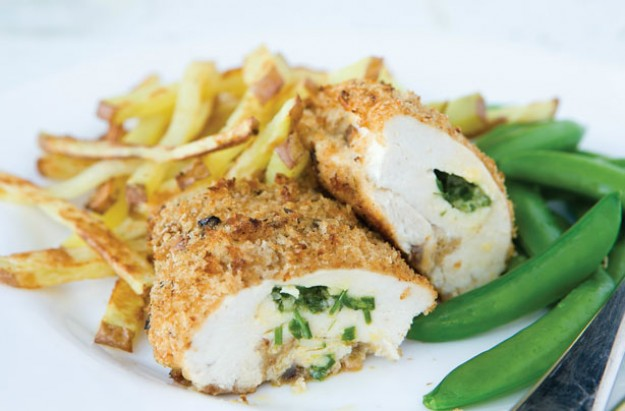 Chicken Kiev with French fries