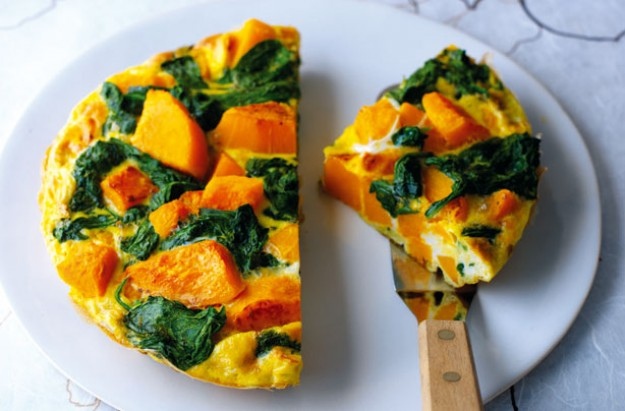 Butternut squash and spinach tortilla