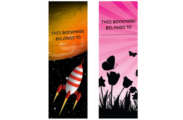 Space bookmark and flower bookmark
