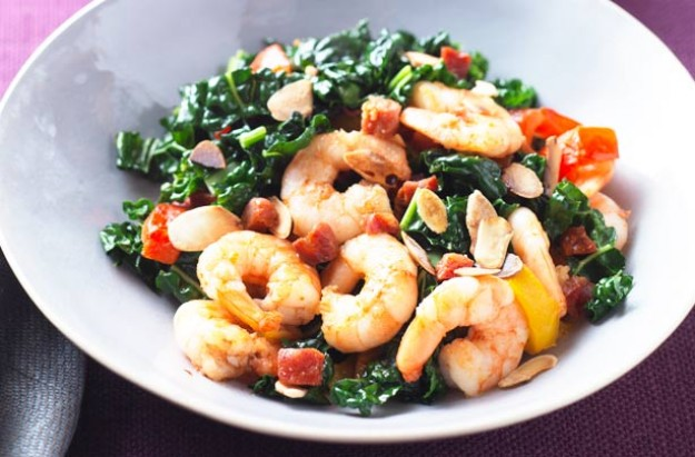 Green vegetables need not be boring. This Cavelo nero is stir fried with juicy prawns. Flaked almonds is tossed in for added crunch. It is easy and quick to cook.