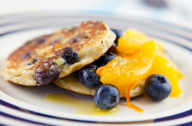 Blueberry and coconut pancakes