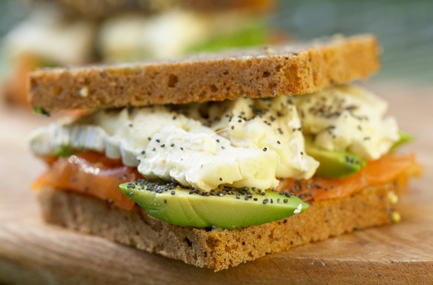 Smoked Salmon Avocado and Brie on Rye sandwich recipe