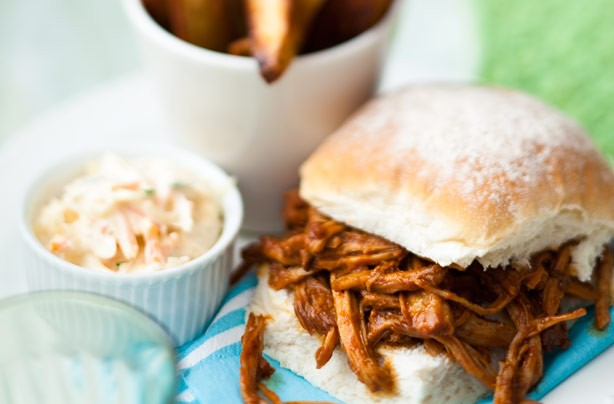 Slow cooked pork baps