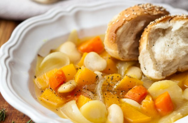 Chunky root veg soup with rolls