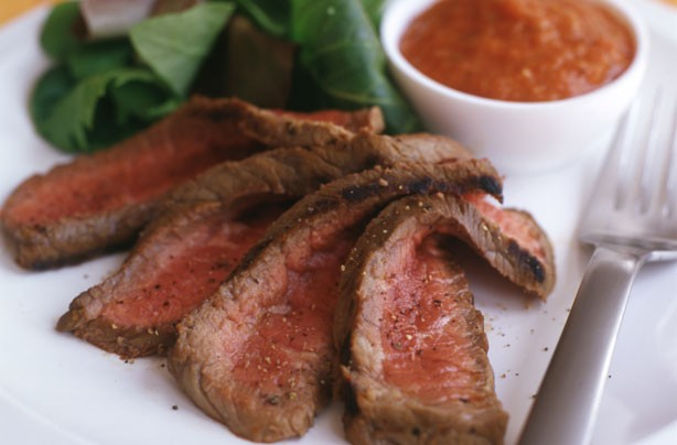 Weight Watchers Grilled Steak with Roast Pepper Dressing