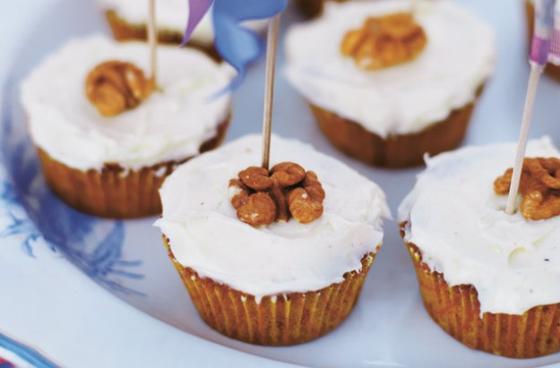 Carrot ginger and walnut cupcake with fluffly white icing