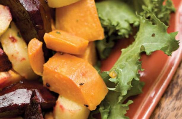 Roasted Root Vegetables With Horseradish Vinaigrette
